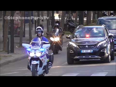 Emmanuel Macron French President his convoy.