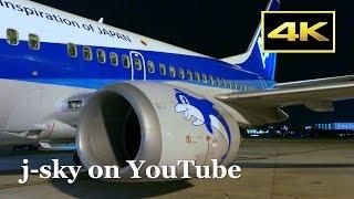 [4K] Beautiful night views! ANA Boeing 737-500