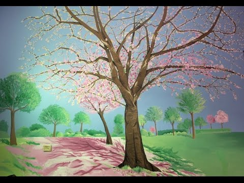 Painting Blossom Tree Mural On Wall   Speed Drawing Part 76