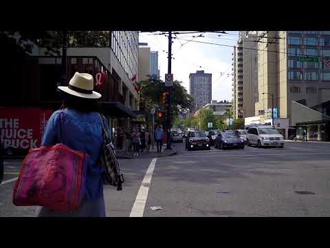 Walking in Vancouver Canada - Downtown Area - Burrard Street - City Life 2018