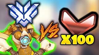 1 Top 500 Player with 3x Stats vs 100 BRONZE PLAYERS THE CRAZIEST GAME YET Overwatch