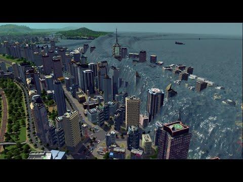 Затапливаем город в Cities Skylines - Потоп в городе - ЦУНАМИ