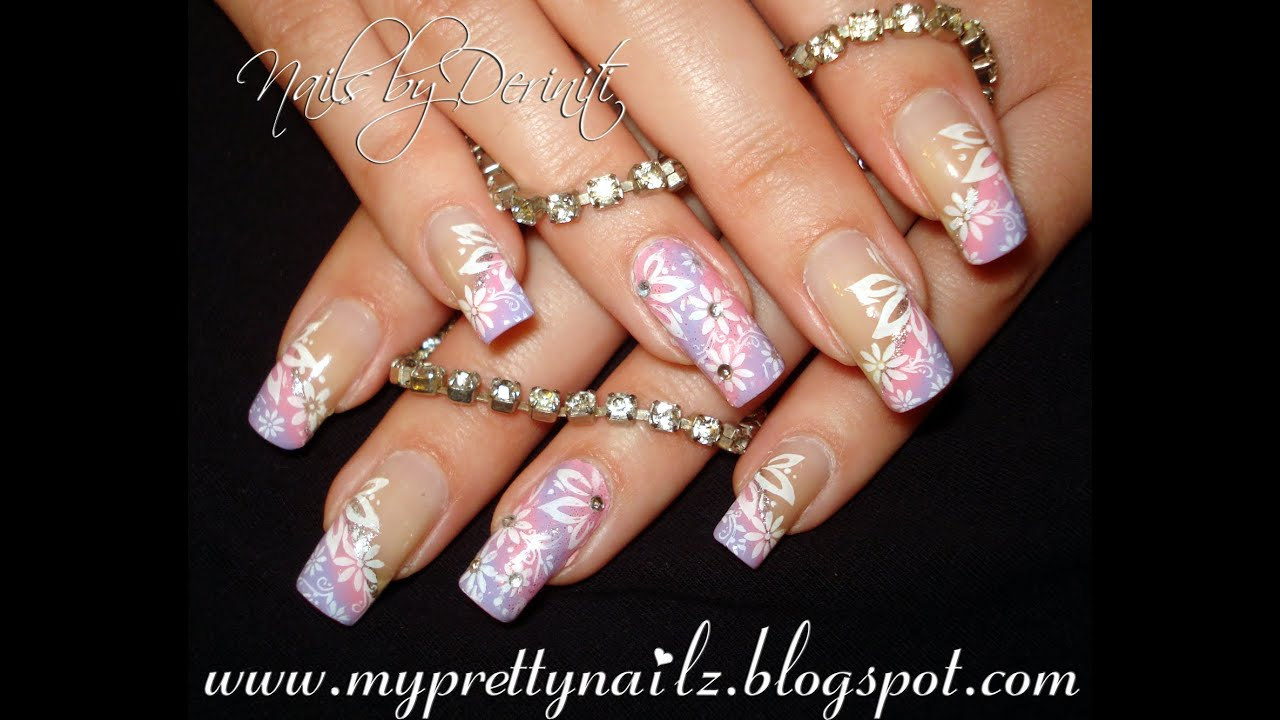 Angled Ombre Floral French Tips Pretty Spring Easter Summer Nail Art ...