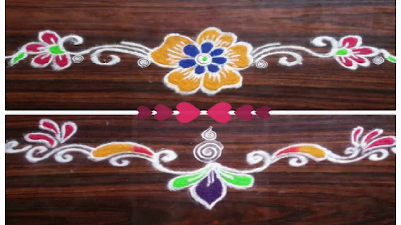 2 easy and simple door rangoli for diwali border for Door rangoli design images