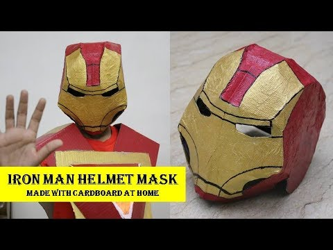 How to make Iron Man Helmet Mask from Avengers (हिंदी में) | Simple Iron Man Mask DIY with Cardboard