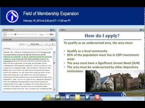 NCUA Webinar:  Field of Membership Expansion (2/19/2014)
