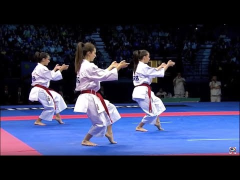 Papercraft Karate Female Team Kata Bronze Medal - Serbia vs Italy - WKF World Championships Belgrade 2010 (1/2)