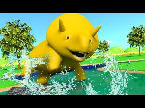 Download Youtube: Dino skacze przez rzekę - Ucz się kolorów z Dino dinozaurem 👶 Bajki Edukacyjne dla Dzieci