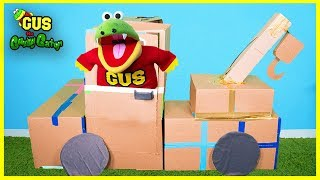 Gus Builds Tow Truck Box Fort and Pirate Ship