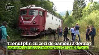 Locomotiva unui tren care venea de la Budapesta a deraiat în Harghita