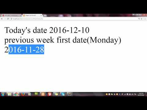 How To Get Previous Week's First And Last Date In PHP