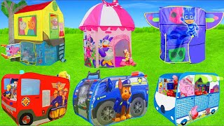 Surprise Play Tent Unboxing w/ Fireman Fire Truck, Chase Toy Vehicles, Bow Tique & Pig Toys for Kids