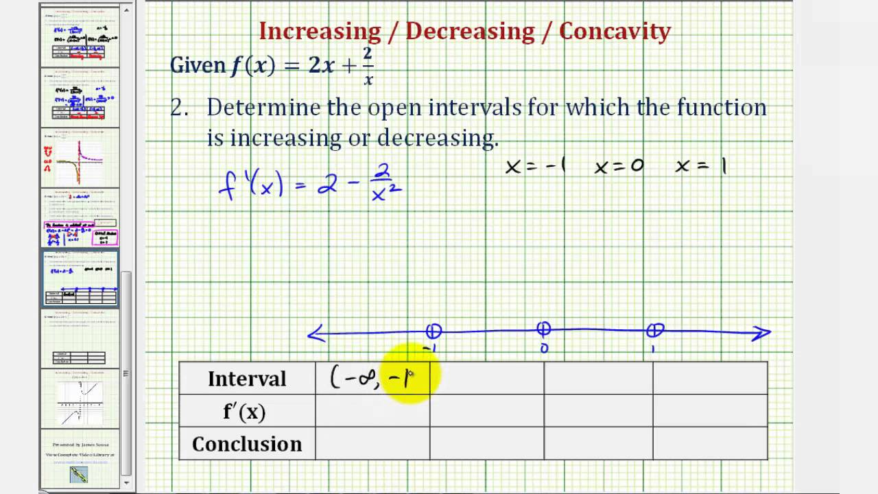 how to tell if an interval is increasing or decreasing