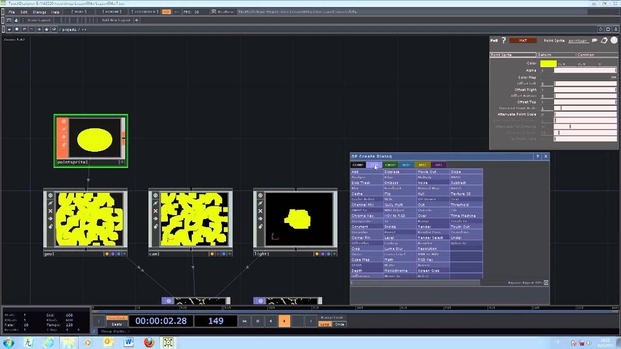 VA3520 Evolutionary Graphics - TouchDesigner - lesson 004B
