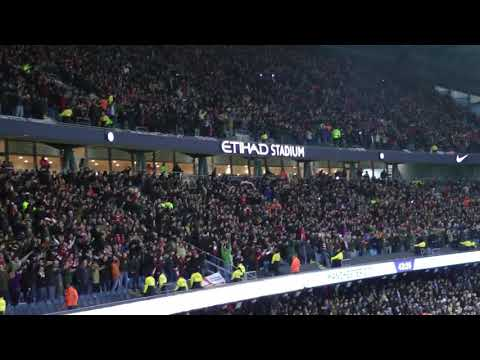 Man City 2-1 Bristol City -- Bristol City fans celebrate awarding, then making, of penalty