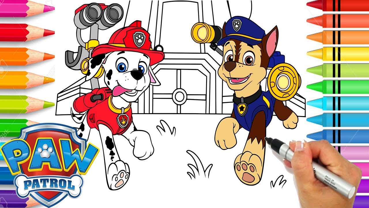 image regarding Printable Paw Patrol referred to as Paw Patrol Chase and Marshall Coloring Site Paw Patrol Coloring Ebook  Printable Paw Patrol Site