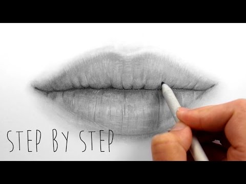 Step by Step | How to draw shade realistic lips with graphite pencils | Emmy Kalia