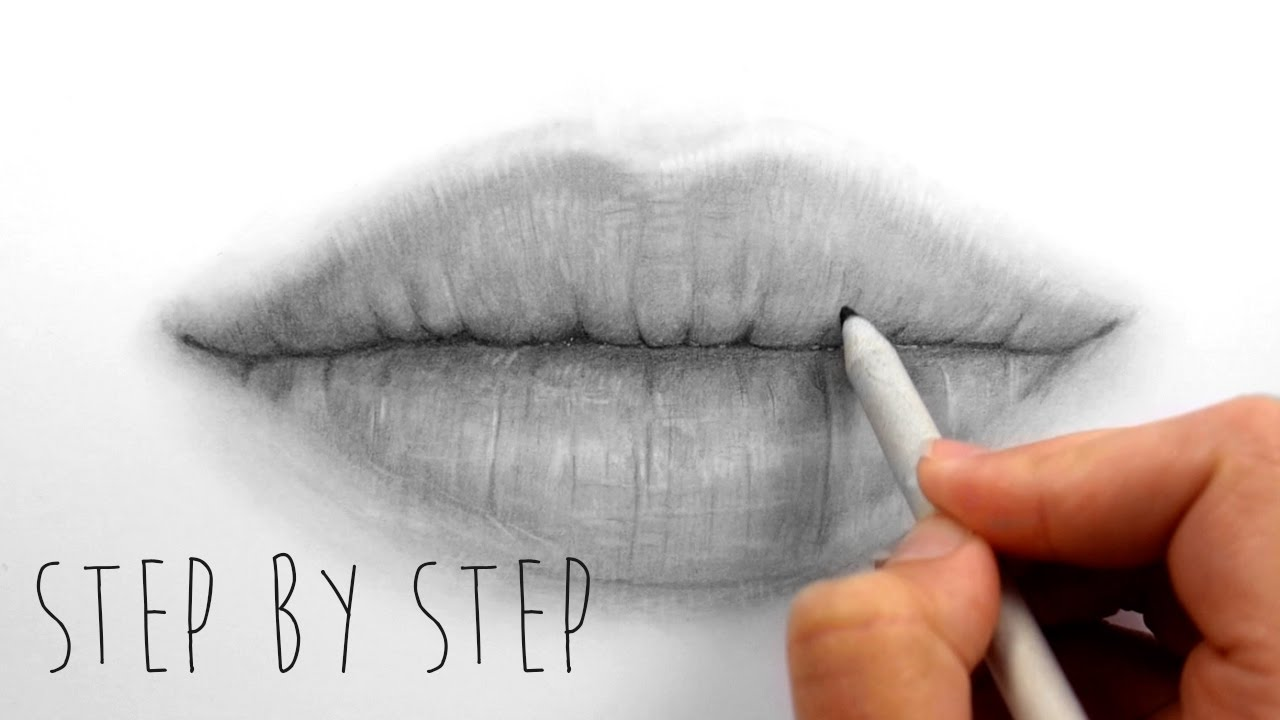 Step by Step   How to draw shade realistic lips with ...