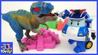 Roboca Poli! Help Me Defeat The Dinosaur. Color Sand Play.  [Jjtoy Tv]
