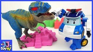 Фото с обложки Roboca Poli! Help Me Defeat The Dinosaur. Color Sand Play.  [Jjtoy Tv]