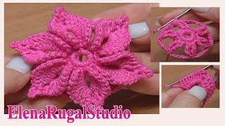 Crochet 3D Flower Pattern Урок 46 Вязаный Цветок с лепестками украшенными пико(На этом уроке мы свяжем цветочек с шестью объемными лепестками. Необычное провязывание этих лепестков..., 2013-08-29T11:54:14.000Z)