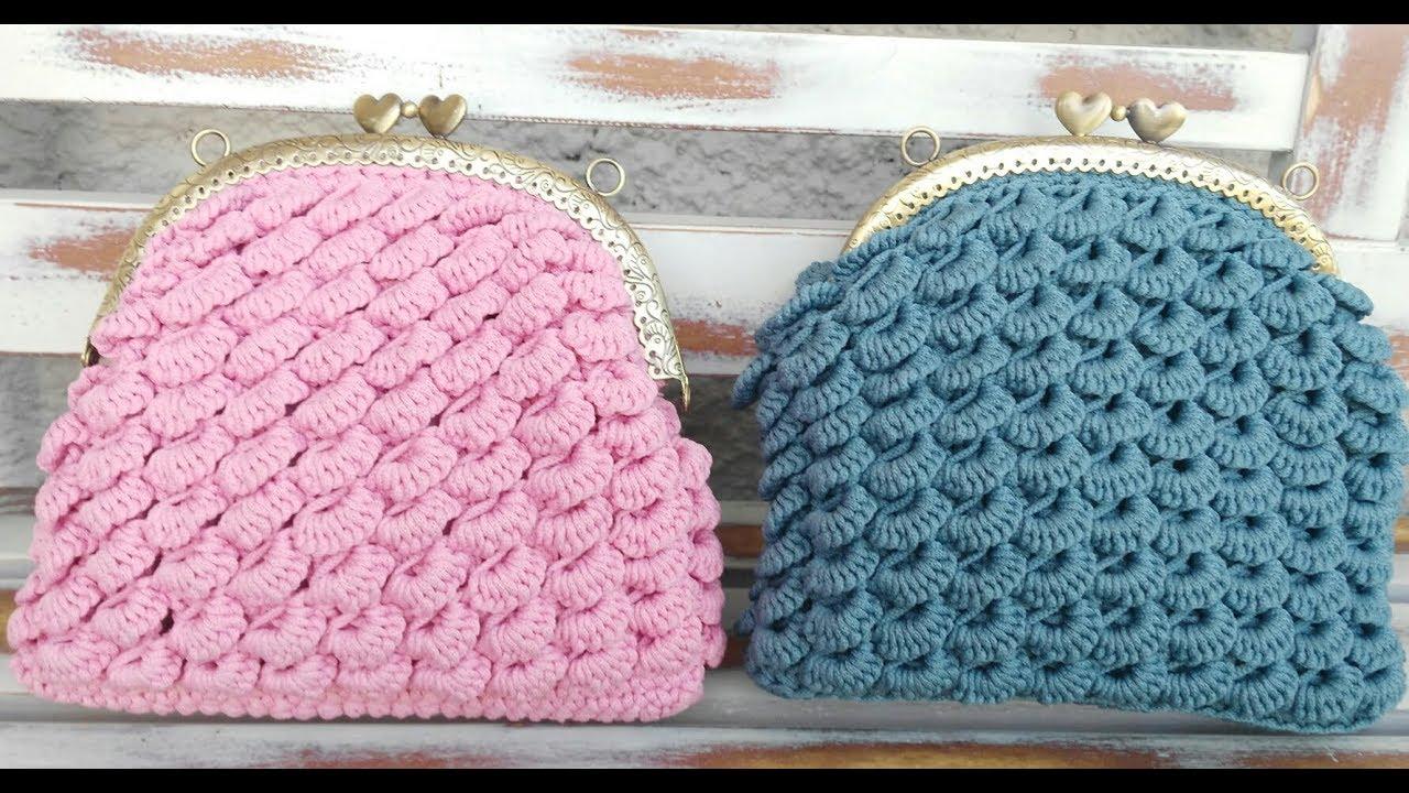 Punto Crochet All Uncinetto.Tutorial Pochette Punto Ventaglietti All Uncinetto Crochet Bag