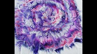 (126) Purple love / Spiral flower dip on 12x12 inch canvas