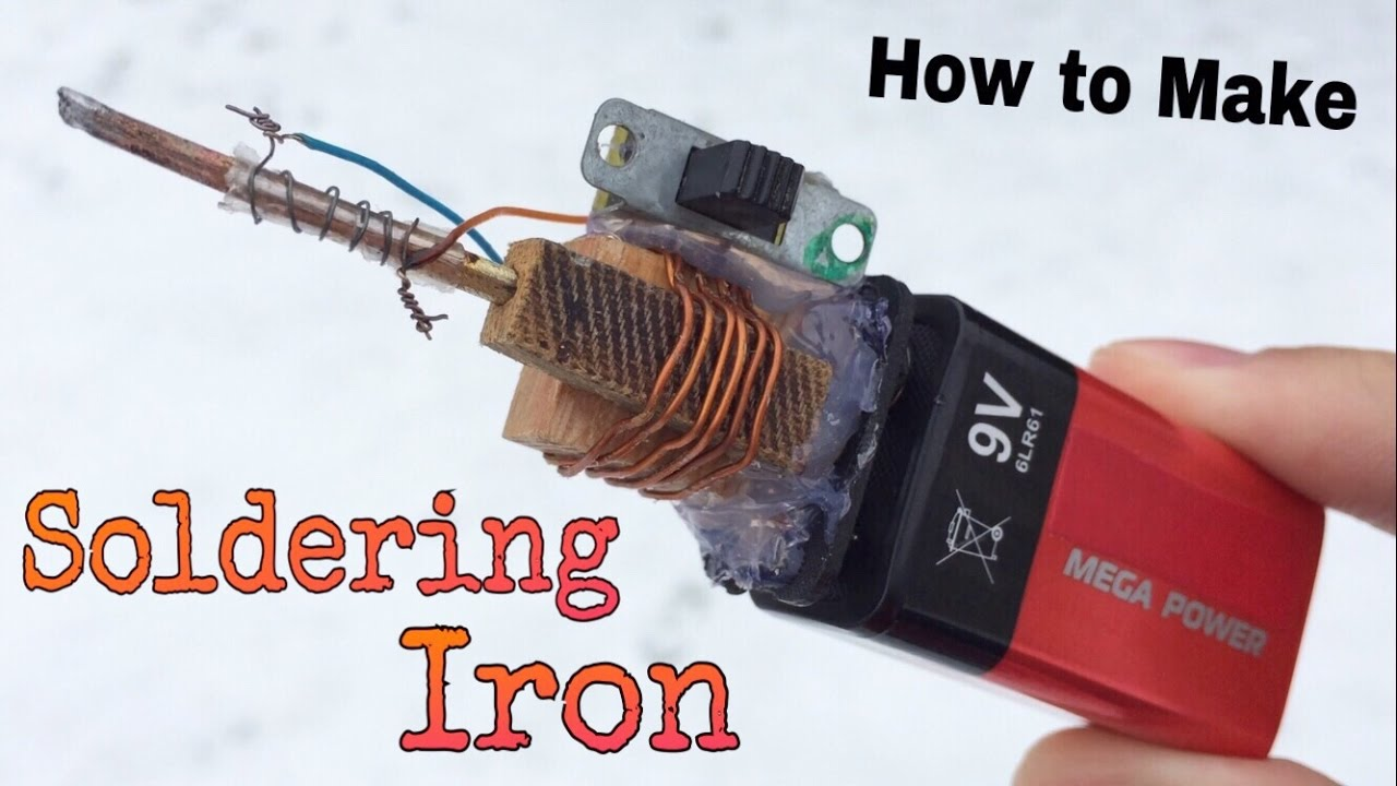 how to make a mini powered soldering iron using battery - simple tool