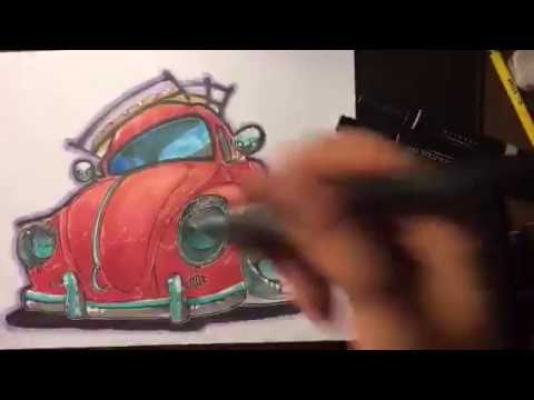Old Classic VW bug Inking Process - Timelapse