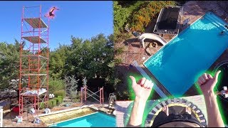 BACKYARD TRAMPOLINE CLIFF JUMPING!! **5 STORIES**