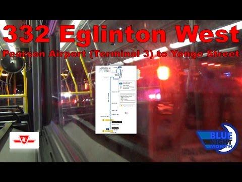332 Eglinton West - TTC 2008 Orion VII NG HEV 1613 (Pearson Airport [Terminal 3] to Yonge Street)