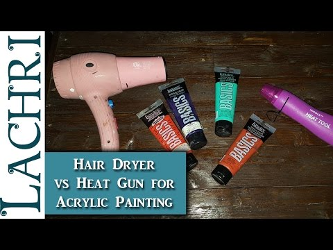 Using a Heat Gun vs Hair Dryer to dry acrylic paints faster - Art tips w/ Lachri