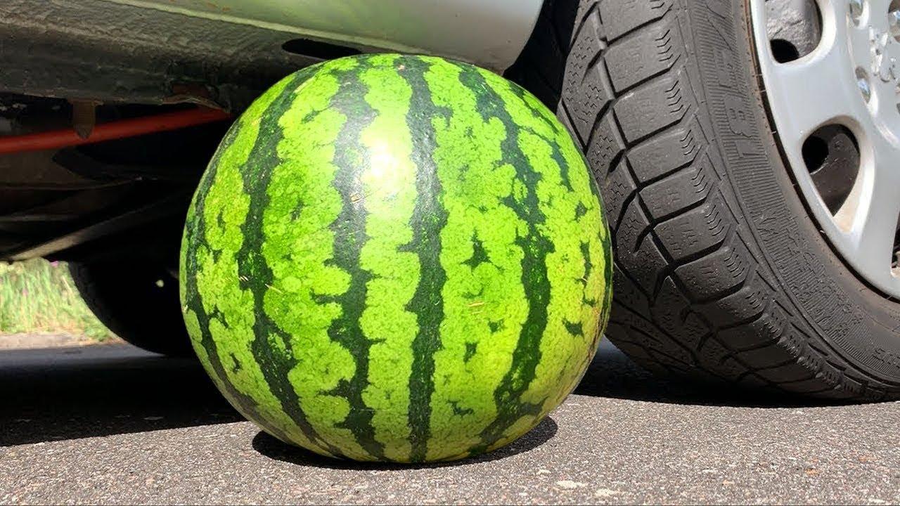 EXPERIMENT: CAR VS WATERMELON   Crushing Crunchy & Soft Things by Car! 3