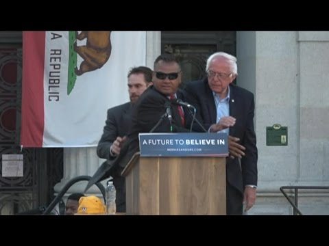 Secret Service Rushes Stage at Bernie Sanders Rally
