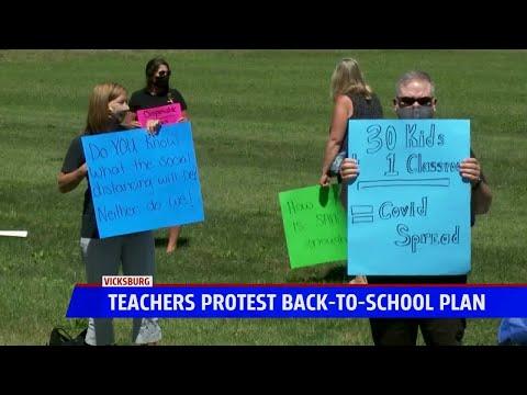 Teachers association protest Vicksburg Community School's back-to-school plan due to safety concerns