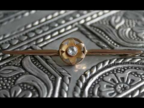 Art Deco 9ct Gold Aquamarine Brooch  The Vintage Jewellery Company
