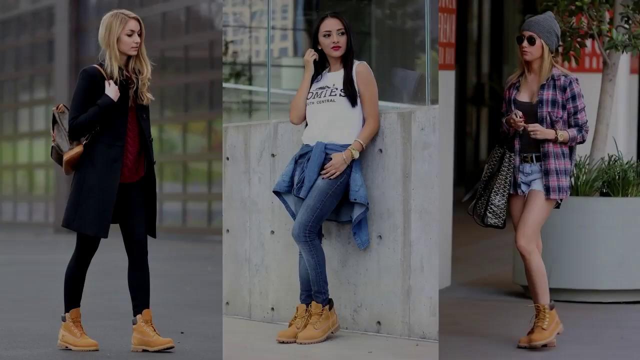 a55e2b123025 Moda tendencias 2018 Outfits con botas timberland mujer