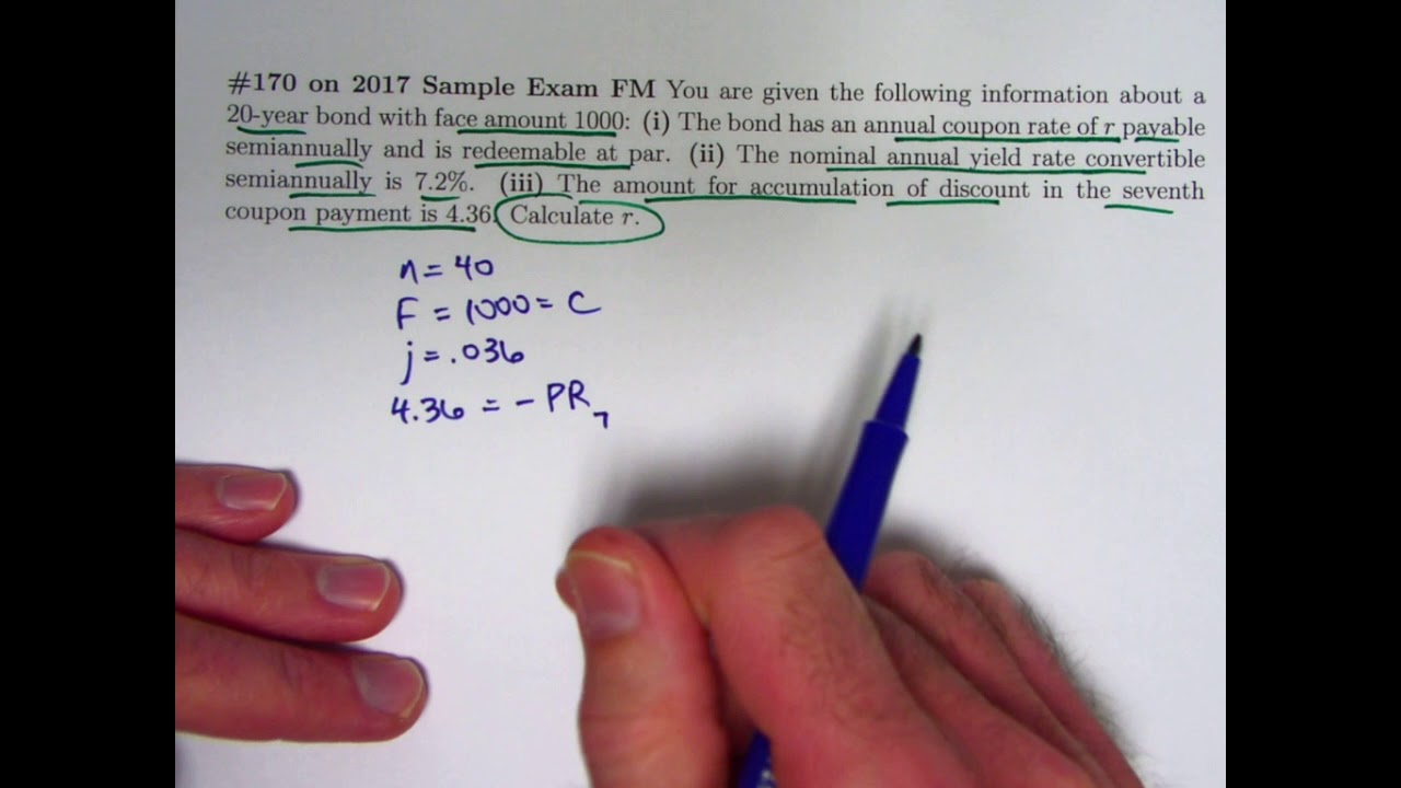 Actuarial Exam 2 Fm Prep Annual Coupon Rate Of A Bond Given