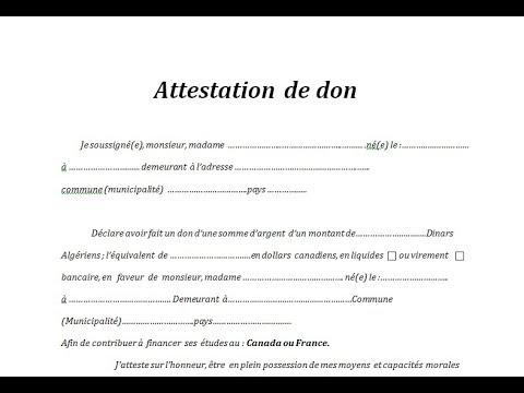 Attestation de don pour visa - YouTube