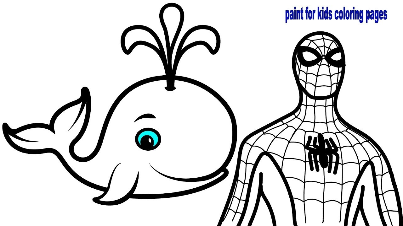 How to Draw Cute Whale with Glitters, Coloring Pages Spiderman ...