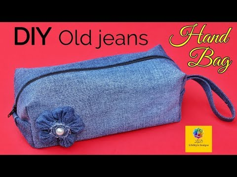 DIY Old Jeans Ladies Hand Bag From Denim Old Jeans