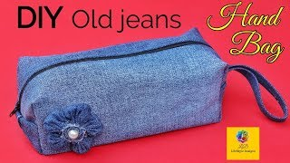 DIY old jeans Ladies hand bag from denim old jeans