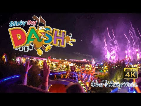 2019 Slinky Dog Dash Roller Coaster At Night With Fireworks On Ride Ultra HD 4K POV Disney World