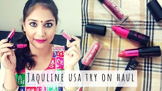 JAQULINE USA TRY ON HAUL & Review   AFFORDABLE LIPSTICK UNDER RS. 300