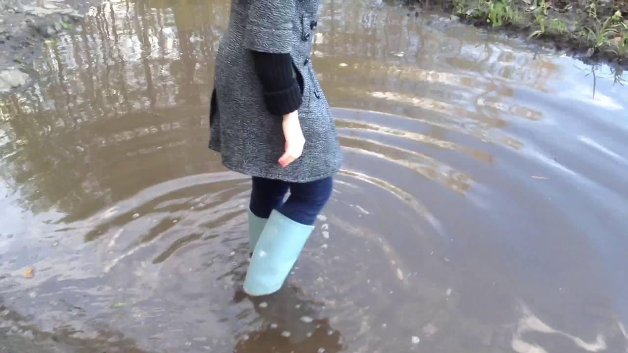 girl walking through water and mid in wellies youtube