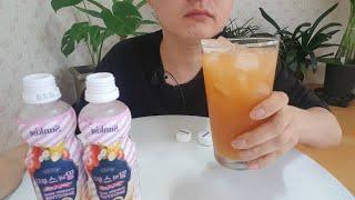 달콤한 썬키스트 딸기바나나 스무디 음료수 먹방 stra…