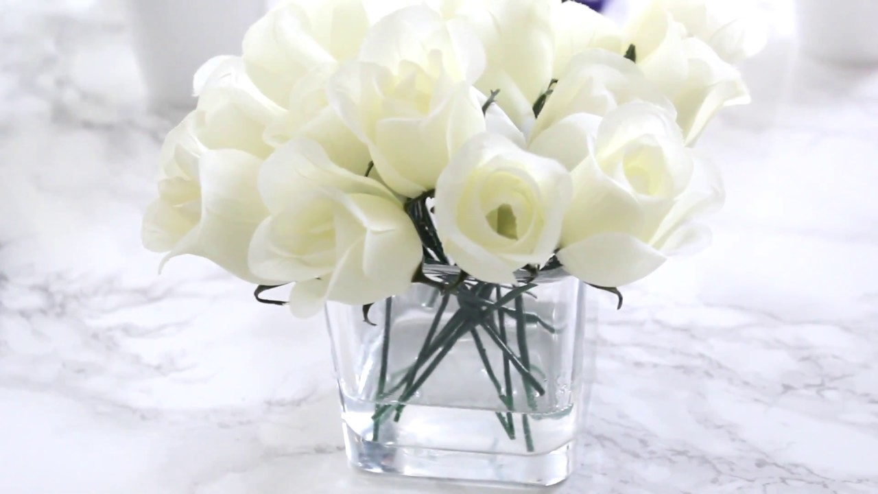 Easy Decor Faux Water Flower Arrangement Diy Glass Vase Flowers With Fake Water Youtube