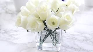 Easy Decor: Faux Water Flower Arrangement | DIY Glass Vase Flowers with Fake Water