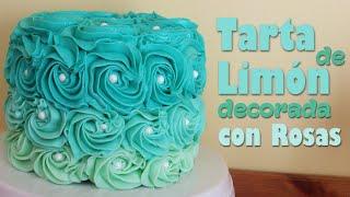 Tarta de limón decorada con rosas en colores :: Recetas de tartas fáciles de hacer