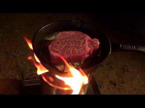 初冬ソロキャンプ ソロストーブでステーキを焼く 不動尊公園キャンプ場